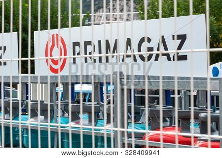 Guilherand-granges, France - October 17, 2019. Logo Of Primagaz Natural Gas Distribution Company Is