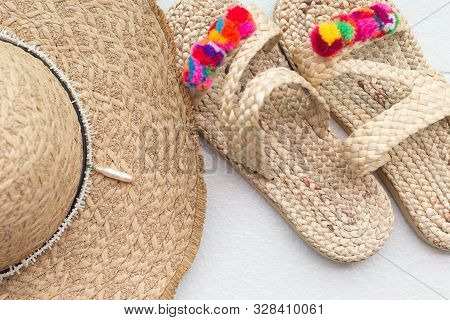 Bohemian Straw Wicker Hat And Slippers. Boho Stile Mosk Up.