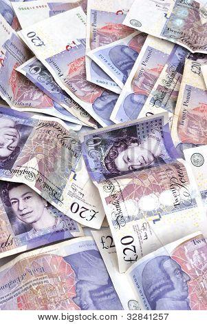 lots of twenty pound notes