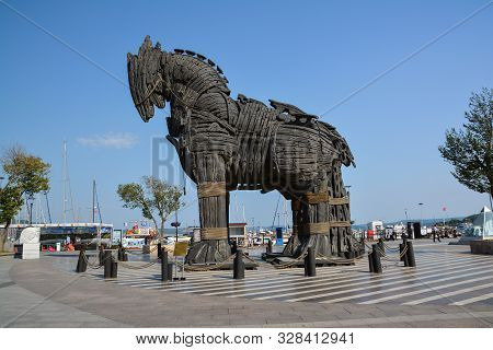 Canakkale, Turkey - August 14, 2017: Replica Of The Trojan Horse In The City Of Canakkale, Turkey.