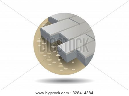 Paving Blocks Icon On White Isolated Background With Shadow