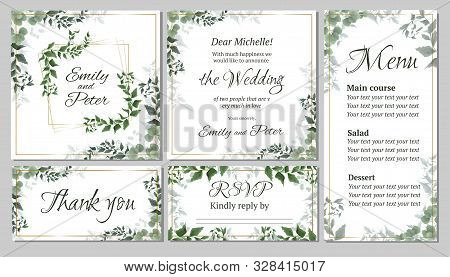 Flora Greeting Card For A Wedding Invitation, Thank You, Rsvp, Menu. Green Elegant Leaves. Green Pla