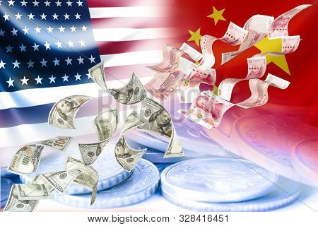 Flying Of Us Dollar And China Yuan Banknote On Usa China Flag And Coins .it Is Symbol Of Economic Ta