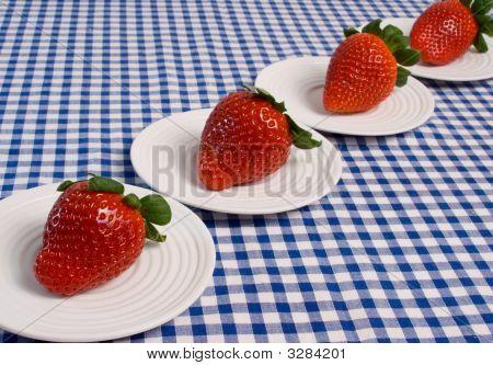 Strawberries On Blue Gingham