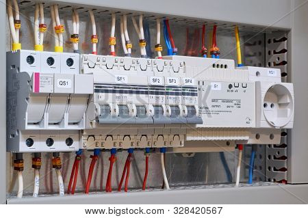 Fuse Holder And Breaker, Circuit Breakers, Power Supply And Socket In The Electrical Cabinet. Marked
