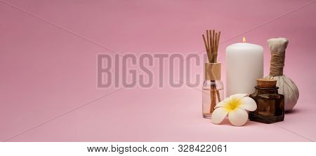 Beautiful And Concise Spa Composition On Pink Background.
