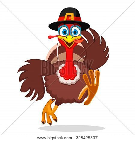 Turkey Runs Forward Holding His Hat Wing On A White. Thanksgiving Day.