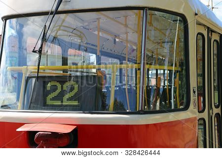 Electrical Tram With Number 22 I At Bus Stop
