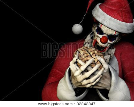 Santa Zombie - Brains. A scary zombie clown wearing a Santa Claus suit about to eat a brain. Mixing Halloween with Christmas. Isolated on a black background. poster