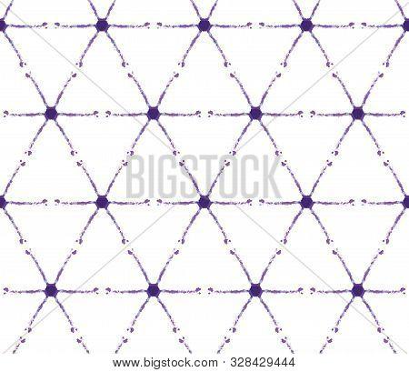Thin Shibori Tie Dye Cross Diamond Background. Seamless Pattern Indigo Bleached Resist. Japanese Sty