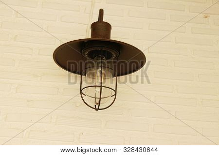 Lamp Beside The Brick Wall Vintage Style