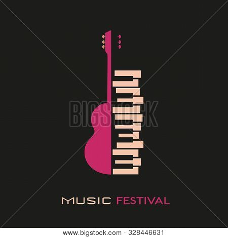 Guitar Piano Hand Drawn Flat Colorful Music Vector Icon. Classic Guitar Piano Keyboard Silhouette De