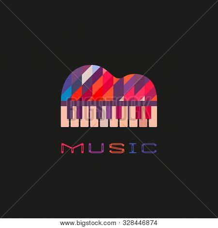 Piano Keyboard Hand Drawn Flat Color Music Vector Icon. Creative Piano Festival Sign Silhouette Desi