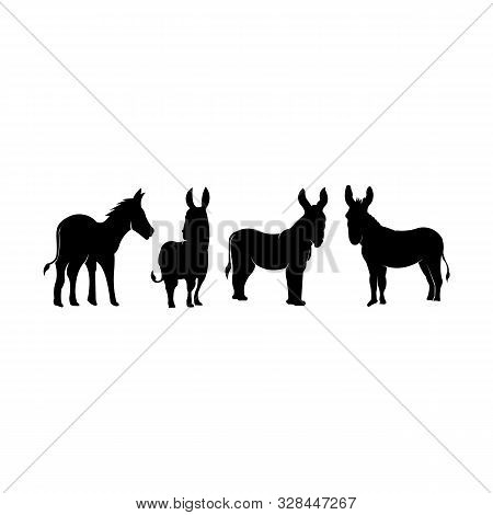 Silhouette Set Donkey - Black And White Logo. Abstract Drawing Of Cute Animal Donkey Of Livestock.