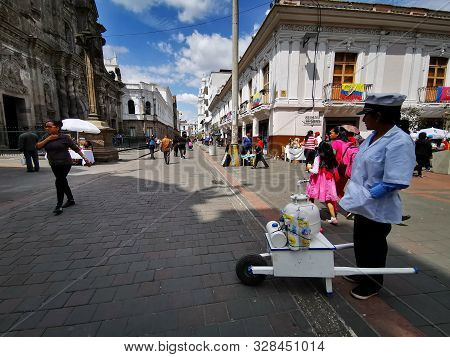 Quito, Ecuador, September 29, 2019: Trsaditional Ice Cream Vendor In The Historic Centre Of Quito, E