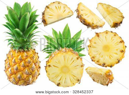 Collection of pineapple and different pineapple fruit slices isolated on white background.