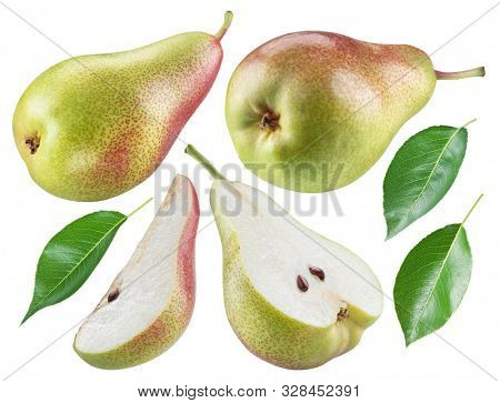Ripe pear, half of pear and pear leaves on white background. File contains clipping path for each item.
