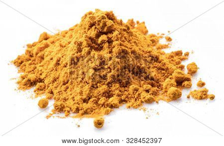Turmeric powder or curcuma powder, commonly used as a spice or dyeing. Isolated on white background.