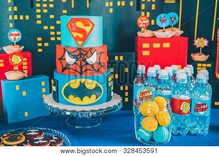 Perm/russia - April, 25, 2018: Delicious Sweet Buffet With Cake. Spiderman, Superman, Batman  Candy