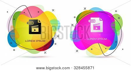 Color Mov File Document. Download Mov Button Icon Isolated On White Background. Mov File Symbol. Aud
