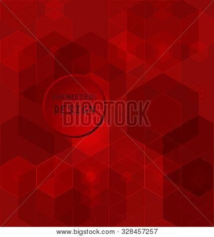 Red Geometric Rumpled Hexagonal Low Poly Origami Style Gradient Illustration Graphic Background.