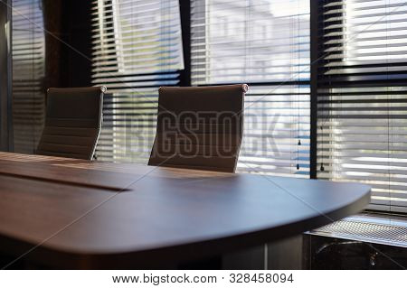 Conference Room In Office. Modern Meeting Room For Business Negotiations And Business Meetings. Boar
