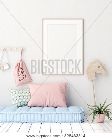 Mock Up Poster In Kids Bedroom Interior Background, Scandinavian Style, 3d Illustration