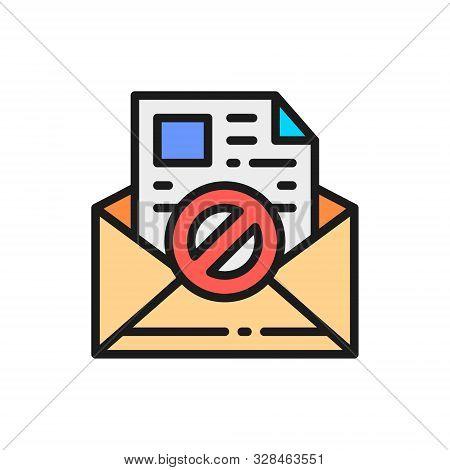 E-mail protection, anti-malware, spyware, trojan flat color line icon. poster