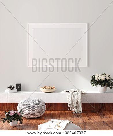 Modern Home Interior, Poster Mock Up, 3d Illustration