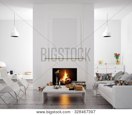 Mock Up Poster In Modern Home Interior With Fireplace, Scandinavian Style, 3d Illustration