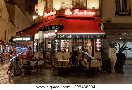 La Fontaine Is Famous Traditional French Caf Located Near Pantheon In Paris, France.