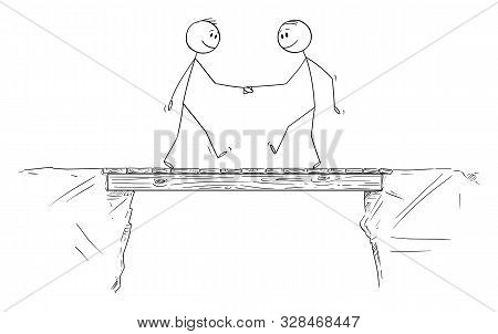 Vector Cartoon Stick Figure Drawing Conceptual Illustration Of Two Men Or Businessmen Shaking Hands