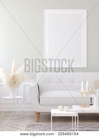 Mock Up Poster Frame In Home Interior Background, Modern Style Living Room, 3d Illustration