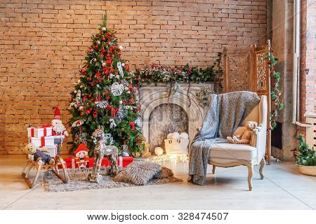 Classic Christmas New Year Decorated Interior Room New Year Tree And Fireplace. Christmas Tree With