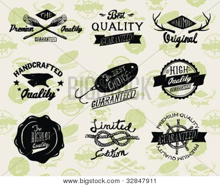 Styled Premium Quality and Satisfaction Guarantee Label collection with black grungy design
