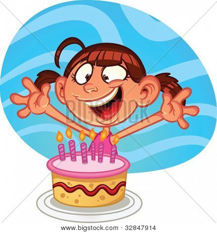 Cute cartoon birthday girl with a cake. Vector illustration with simple gradients. Character and background on separate ayers for easy editing.