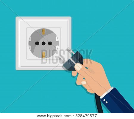 Hand Disconnecting Electric Plug. Man Unplug Electrical Power Socket. Energy Cable Off. Flat Safety
