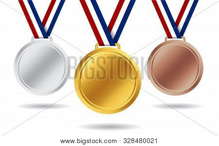 Gold, Silver, Bronze Medals. 3d Award Medal For 1st, 2nd, 3nd Place. Blank Insignia Of Medal With Re