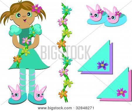 女孩、 鞋和鲜花的混合