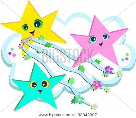 星流的彩带和鲜花