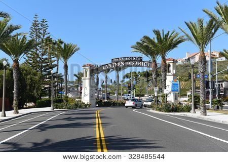 DANA POINT, CALIFORNIA - 18 OCT 2019: The Lantern District Sign marks an area undergoing revitalization in the Southern California beach city.