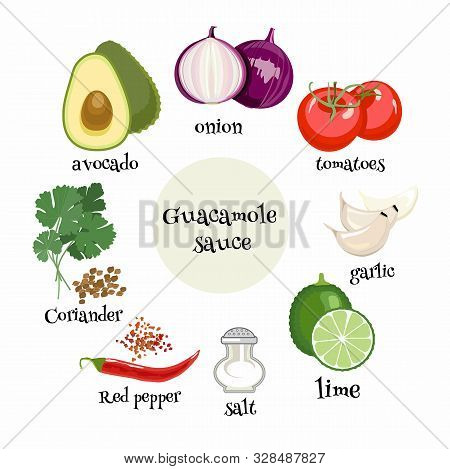 Set Of Mexican Guacamole Sause Ingredients. Avocado, Tomatoes, Onion, Garlic, Lime, Coriander, Red P