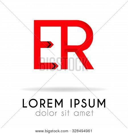Ribbon Logo In Dark Red Gradation With Er Letter. Can Also Be Used For Company Logos, Websites, Orga