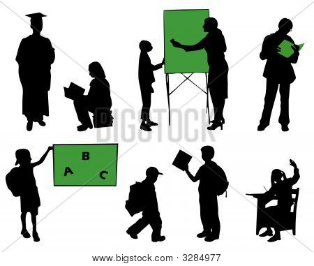 School Pupils Silhouettes