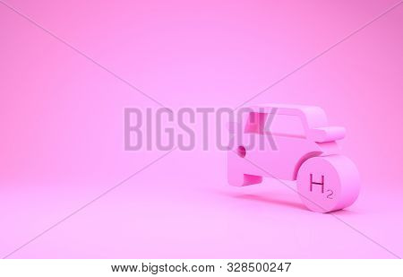 Pink Hydrogen Car Icon Isolated On Pink Background. H2 Station Sign. Hydrogen Fuel Cell Car Eco Envi