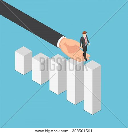 Flat 3d Isometric Big Business Hand Helping Businessman Reaching The Top Of Graph. Business Assistan