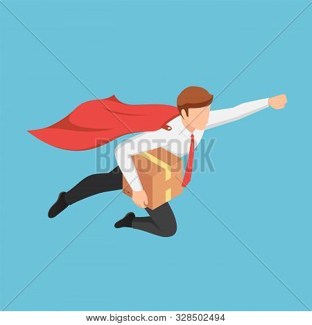 Flat 3d Isometric Super Businessman Flying Fast To Delivery Parcel To Customer. Fast Delivery Servic