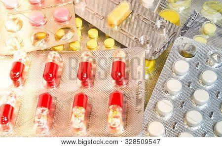 Blister Medical Pills Pharmaceutical Stuff Stethoscope. Health Care Concept.