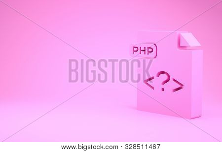 Pink Php File Document. Download Php Button Icon Isolated On Pink Background. Php File Symbol. Minim