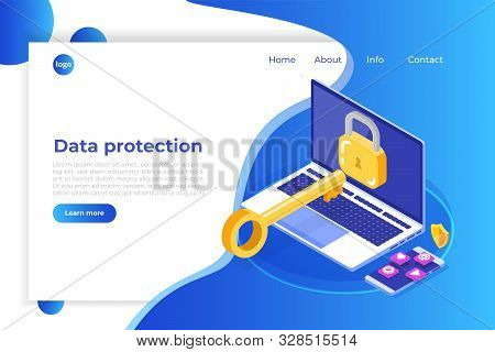 Data Protection, Internet Security Isometric Concept. Vpn, Encryption, Privacy Protection. Vector Il